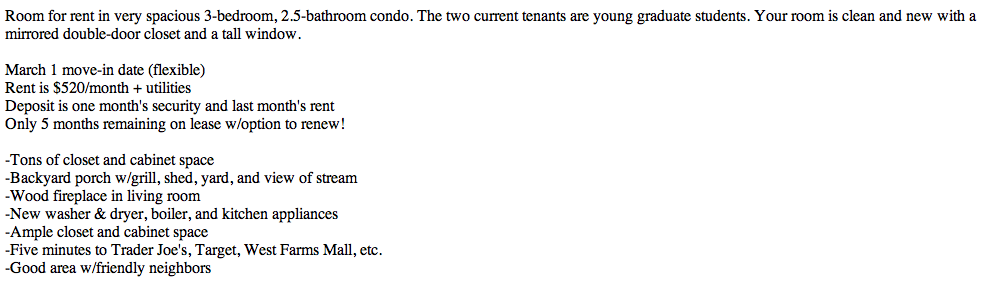 Making an Optimal Post on Craigslist to Find Roommates