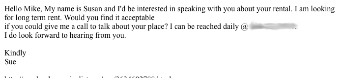 Example e-mail from potential roommate